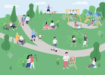 Illustration of diverse group of people using park for recreation and play.