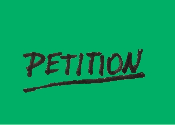 Petition written over green background