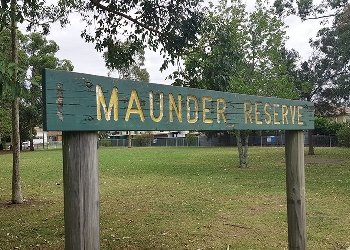 Maunder Reserve sign in a park